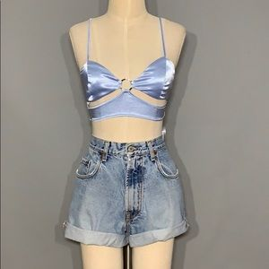NWT Baby Blue cut out bralette top